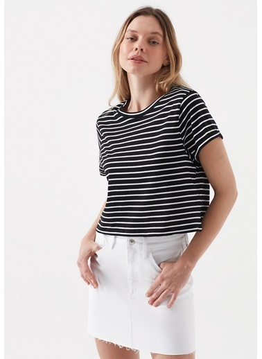 Mavi Kadın  Çizgili  Crop  Tişört 168592-900 Siyah